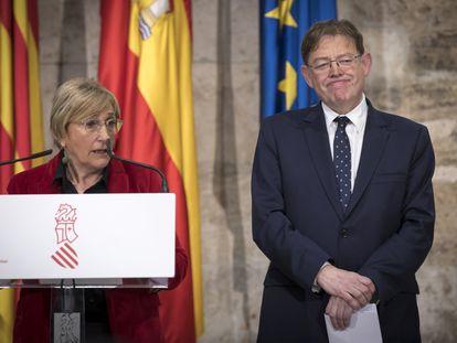 La consejera de Sanidad, Ana Barceló, y el presidente de la Generalitat, Ximo Puig, en una comparecencia a finales de febrero.