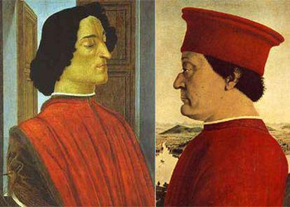 Retratos de Giuliano de Medici (izquierda) y Federico da Montefeltro, duque de Urbino.