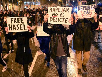Manifestación en Barcelona el pasado día 22 en apoyo a Pablo Hasél.