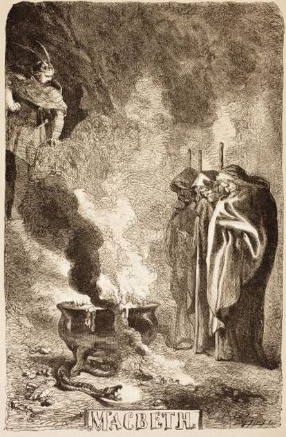 Ilustración basada en 'Macbeth' de Sir John Gilbert.