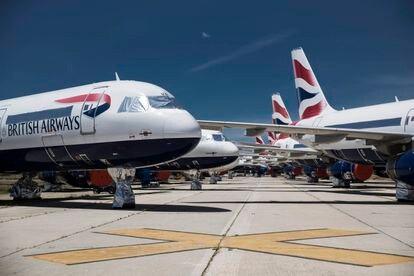 Aviones de British Airways en el aeropuerto Adolfo Suárez Madrid-Barajas, el mes pasado.