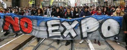 protesta contra la Expo de Milán de 2015.