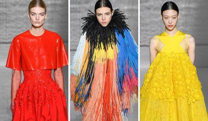 Tres modelos vistiendo prendas de Givenchy, durante la semana de la moda de París, el pasado martes.