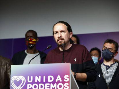 Pablo Iglesias, en su anuncio de retirada de la política después de las elecciones en la Comunidad de Madrid.
