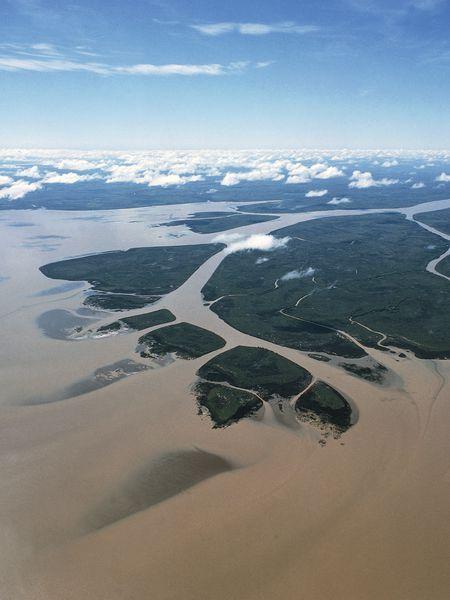 Vista aérea del Río de la Plata.