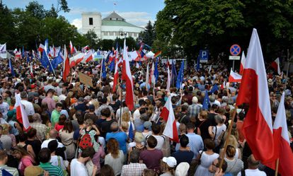 Manifestación este domingo en Varsovia (Polonia) en contra la reforma de la justicia.