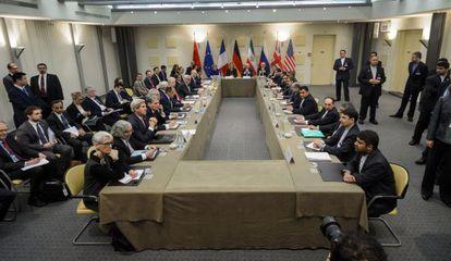 Negociación en Lausana (Suiza), este lunes, sobre el acuerdo nuclear.