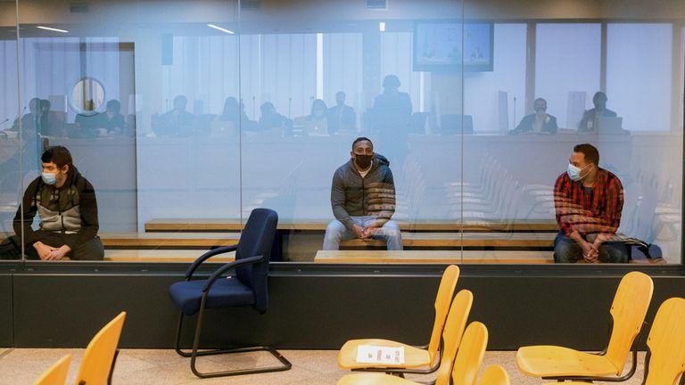 Los acusados, durante el juicio del 17-A que se desarrolla en la Audiencia Nacional.