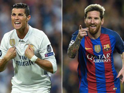 Cristiano Ronaldo y Messi, con el Real Madrid y el Barcelona.