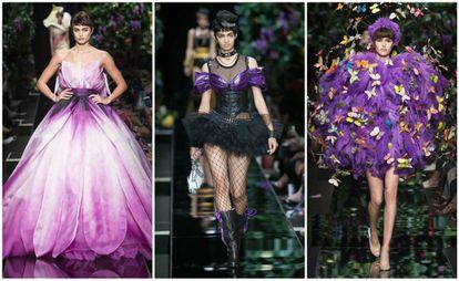 Tres de los diseños de Moschino de su colección primavera/verano 2018, presentados en la Semana de la Moda de Milán del pasado Septiembre.