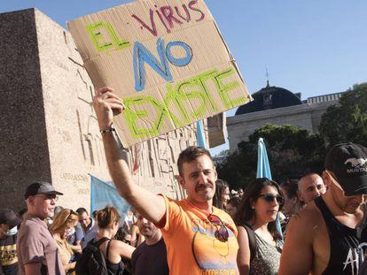Manifestación en Madrid, en agosto pasado, de negacionistas el virus covid-19.