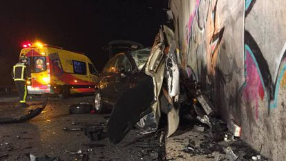 Accidente provocado por un kamikaze en la M50, en septiembre de 2019.
