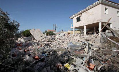 Vivienda de Alcanar en la que se produjo la explosión la noche del miércoles.
