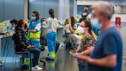 Vacunación con AstraZeneca en el Wanda Metropolitano de Madrid el pasado mes de mayo