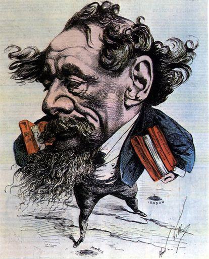 Reproducción de la publicación 'La historia de la literatura.' Caricatura de Dickens por A. Gill, publicada en 'L'Eclipse' el 14 de junio de 1868. © J. L. CHAMET