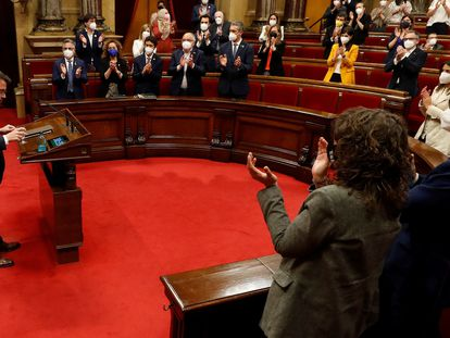 El candidato de ERC a la presidencia de la Generalitat, Pere Aragonès, en un momento de su intervención.