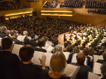 Un momento del 'Mesías' participativo en el Auditori de Barcelona.
