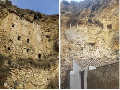 Palacio de Inestrillas, antes y después del derrumbe.