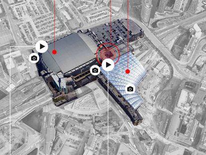 Gráfico de reconstrucción del atentado en el Manchester Arena.