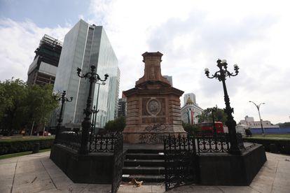 Pedestal donde se encontraba el monumento a Cristóbal Colón en la Ciudad de México.