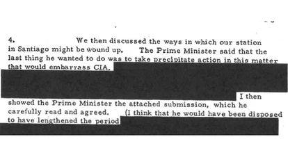 Uno de los documentos en los que la CIA quiere el apoyo secreto de Australia tras las elecciones de Allende.