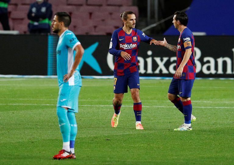Messi y Griezmann, durante el duelo ante el Leganés.