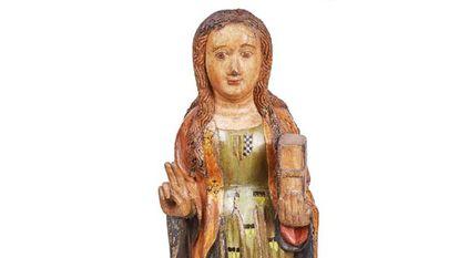 La santa con el escudo de Pere II en el pecho que ha adquirido la Generalitat.