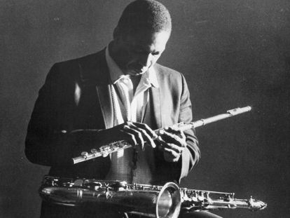 CIRCA 1965:  Jazz saxophonist John Coltrane poses for a portrait in circa 1965. (Photo by Chuck Stewart/Getty Images)