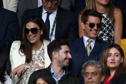 US actor Tom Cruise (R) and English actor Hayley Atwell (L) watch the women's singles final on the twelfth day of the 2021 Wimbledon Championships at The All England Tennis Club in Wimbledon, southwest London, on July 10, 2021. (Photo by Adrian DENNIS / AFP) / RESTRICTED TO EDITORIAL USE
