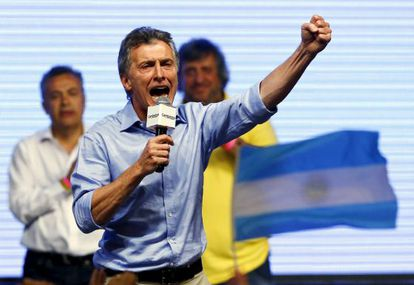 Mauricio Macri celebra su victoria, este domingo en Buenos Aires.