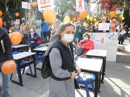 Protesta de la escuela concertada contra la nueva ley educativa, la semana pasada en Madrid.