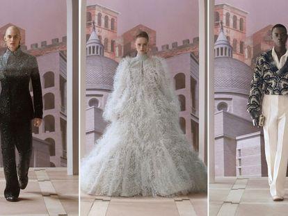 Tres diseños de Fendi en su presentación en la Alta Costura de París para el invierno 2021/2022.