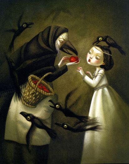 Ilustraciones del francés Benjamin Lacombe e imágenes de sus álbumes <i>Blancanieves</i> (Hermanos Grimm),