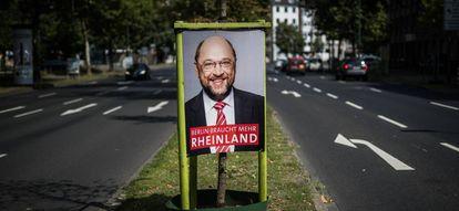 Cartel de campaña del candidato del SPD, Martin Schulz, en Dusseldorf.