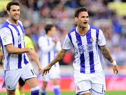 Willian José celebra su segundo gol al Valencia.