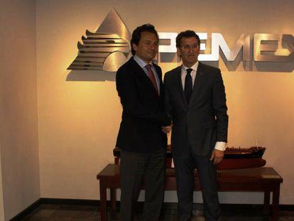 Lozoya y Alberto Núñez Feijóo, en la sede de Pemex en 2014. En vídeo, la detención del ex director de la compañía.