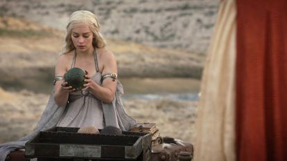 Emilia Clarke, as Daenerys Targaryen in the first episode of 'Game of Thrones'.
