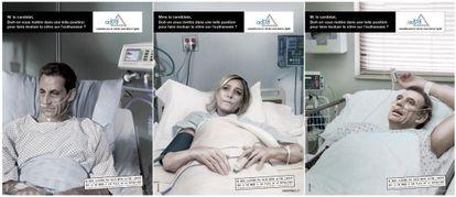 Los carteles que muestran a los tres candidatos presidenciales franceses que se oponen a la eutanasia.