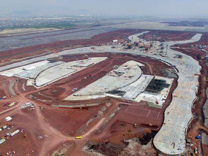 Vista aérea del nuevo aeropuerto en Texcoco.