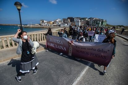 Manifestación, en abril, en San Cibrao contra el archivo del caso de las cámaras ocultas en la romería de A Maruxaina.