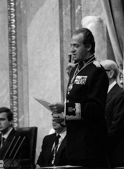 El rey Juan Carlos, en la apertura de legislatura de 1986.