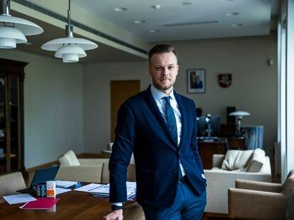 Gabrielius Landsbergis, ministro de Exteriores de Lituania, este miércoles en su despacho, en Vilnius.