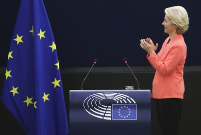 Ursula von der Leyen, durante su discurso este miércoles en el Parlamento Europeo.