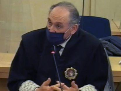 El fiscal Antonio Romeral, durante el juicio sobre la caja b del PP, en una imagen de vídeo emitida por la Audiencia Nacional.