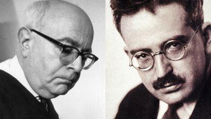 Theodor W. Adorno y, a su derecha, Walter Benjamin, filósofos alemanes y miembros de la Escuela de Fráncfort.