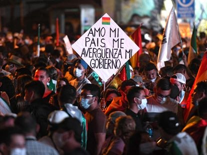 Protesta contra el Gobierno de Luis Arce, en Santa Cruz, Bolivia, este 15 de marzo.