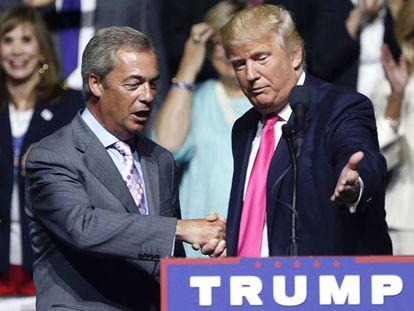 Nigel Farage y Donald Trump, durante un mítin celebrado en agosto en Jackson (Mississippi).