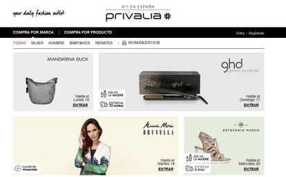 La página web de Privalia