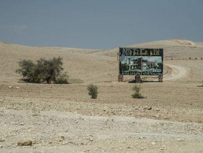 Cartel de una promoción inmobiliaria en Al Auja, en Jericó, en la Cisjordania ocupada por Israel.