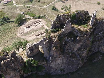 Castillo y aljama judía excavada en Pancorbo (Burgos).